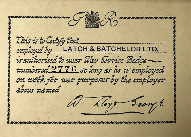 Blank certificate from the company archive