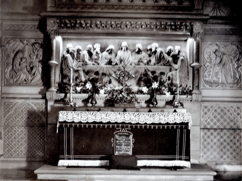 External damage to St. Cyprian church and the marble reredos depicting the Last Supper behind the altar, c. 1930.