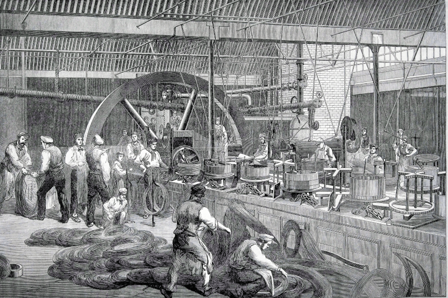 Making wire for the Atlantic cable, Hay Mills 1865