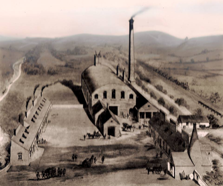 The Killamarsh steel works with the essential railway link to the Midlands alongside