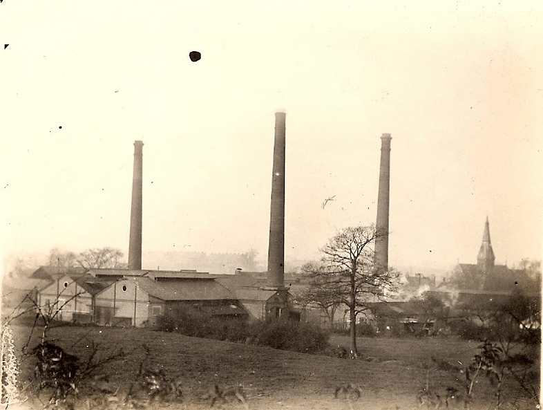 View of the works showing chimneys, c. 1900 taken from the Grand Union Canal